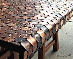 A Penny Desk... a great idea for countertops, floors, or furniture. www.homeroad.net