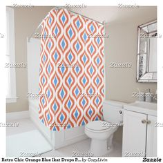 Retro Chic Orange Blue Ikat Drops Pattern Shower Curtain.  Beautiful contemporary blue and orange Ikat drops pattern. Ornate, elegant and funky hipster design for the fancy artistic interior designer, artsy fashion diva, popular hip trendsetter, vintage retro, nouveau deco art style or abstract graphic digital geometric motif lover. Available on a variety of modern home decor products for those looking to decorate the bathroom of their new house, condo, studio or apartment.