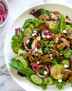 Warm Mushroom Salad with Avocado, Dried Cranberries & Quick-Pickled Red Onions Dried Mushrooms, Stuffed Mushrooms, Stuffed Peppers, Quick Pickled Red Onions, Mushroom Salad, Salad Ingredients, Avocado Salad, Dried Cranberries, Serving Platters
