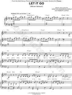 """""""Let It Go (Movie Version)"""" from 'Frozen' Sheet Music - Download & Print"""