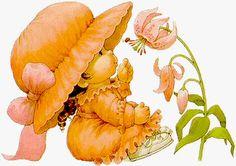 Meisje in het Oranje Wijst naar Bloem