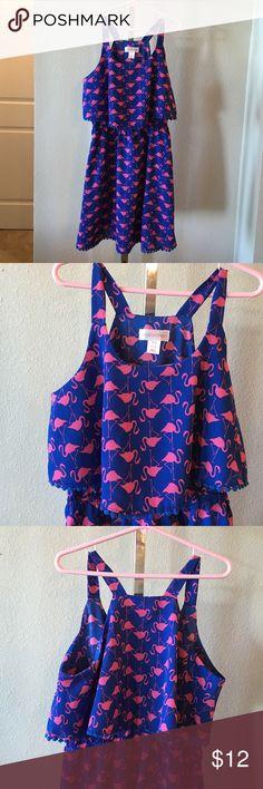 Girls flamingo dress Royal blue and hot pink with pom pom trim. Worn twice Xhilaration Dresses Casual