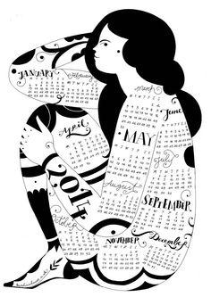 Wall Calendar 2014 by KarolinSchnoor on Etsy