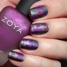 Zoya Matte Velvet Collection - Funky floral nail art  |  Sassy Shelly