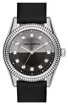 KARL LAGERFELD 'Petite Stud' Crystal Index Leather Strap Watch, 34mm | No