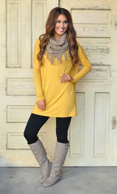 Mustard Tunic and Grey Boots | You can find this and many other looks at => http://feedproxy.google.com/~r/amazingoutfits/~3/hUdFA2YjGR4/AmazingOutfits.page