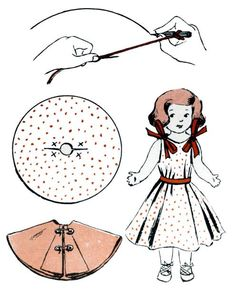 One activity that often lasts for several days at a time is that of dressing dolls in clothes that can be made quickly and easily, and here is a kind of doll clothes that can be made without any sewing at all.     To make a short dress, first...