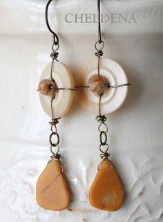 SALE Crazy Agate and Jasper Wire Wrapped Vintage Button Earrings - Unique Artisan Jewelry