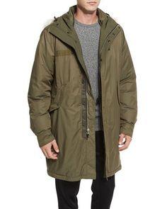 RAG & BONE Bullett Shearling Fur-Trim Down Anorak Jacket, Army Green. #ragbone #cloth #