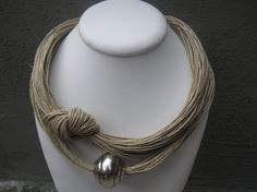 Necklace Linen EcoFriendly Thread Knots Metal Silver by espurna88