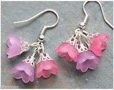 pink Lucite bell flowers flower beaded silver EARRINGS Jewellery
