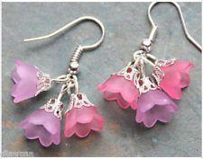 pink Lucite bell flowers flower beaded silver EARRINGS Jewellery