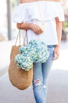 Off The Shoulder Top - Rhyme & Reason - Street Fashion Peonies And Hydrangeas, Blue Hydrangea, Spring Summer Fashion, Spring Outfits, Spring Style, Rhyme And Reason, Love Flowers, New Fashion, Street Fashion
