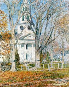 Church at Old Lyme Artwork by Frederick Childe Hassam Hand-painted and Art Prints on canvas for sale,you can custom the size and frame