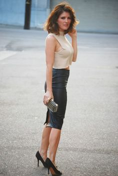 Tanya Dempsey from November Grey: Leather Pencil Skirt/DIY cropped cashmere