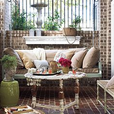 Style Guide: 60 Breezy Porches and Patios | Georgia Brick Porch | SouthernLiving.com