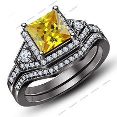 14Kt Full Black Gold Finish Princess Cut Yellow Sapphire Wedding Bridal Ring Set #Aonejewels