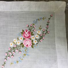 Sale Handkerchief Embroidered Garland of Roses and Buds, Daisies and Blossoms, Pink White Blue Perfect for a Bridesmaid o by TreasureofMemories on Etsy Diy Embroidery Patterns, Border Embroidery Designs, Hand Work Embroidery, Embroidery Flowers Pattern, Silk Ribbon Embroidery, Embroidery Kits, Floral Embroidery, Cross Stitch Embroidery, Machine Embroidery