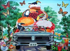 Toucans Tour the Midwest - collage on found paint-by-numbers by Teresa Petersen