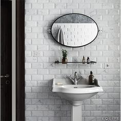 Karra Carrara x Ceramic Subway Tile in Glossy Metro White/Gray Beveled Subway Tile, Ceramic Subway Tile, White Bathroom Tiles, Bathroom Wall, Wall Tiles, Bathroom Ideas, Marble Look Tile, Marble Wall, Bathrooms