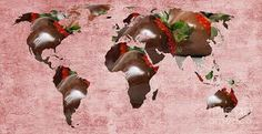 abstract world map chocolate covered strawberries