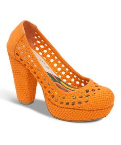 Take a look at this Orange Ca-Million Platform Pump by Vogue Footwear on #zulily today!