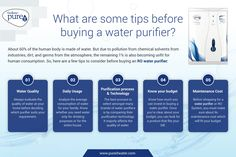 Drinking water is contaminated with chemical solvents from the atmosphere. Click here to know a few tips you must look for before buying an RO water purifier. Ro Water Purifier, Water Purification, Safe Drinking Water, Water Filter, Human Body, Infographics, Tips, Stuff To Buy, Infographic