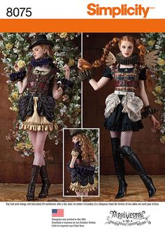 Misses' Steampunk style costume has all the pattern pieces you need to create a unique cosplay outfit. Pattern includes mini dress, vest, bustle, neck, back and cuff ruffles and harness. Arkivestry for Simplicity.
