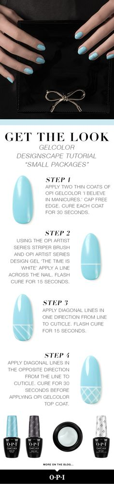 "OPI presents Breakfast at Tiffany's inspired nail art. Try this fun ""Small Packages"" nail art using the new OPI holiday collection inspired by the iconic film. OPI is delighted to celebrate Breakfast at Tiffany's with these must-have shades. Head to the salon to try this classic #OPIBreakfastAtTiffanys look."