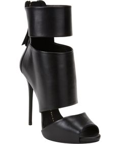 "4.7"" Giuseppe Zanotti Leather Cut Out Peep Toe Ankle Boots"