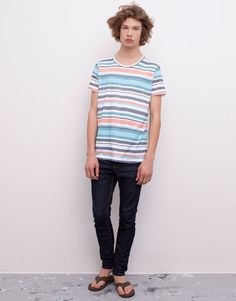 Pull&Bear - man - t-shirts - all-over stripes print t-shirt - white - 05242525-V2015
