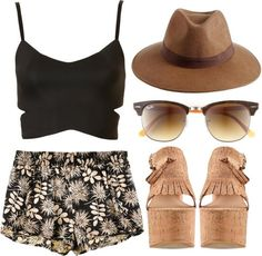 Polyvore Outfits with Shorts | POLYVORE OUTFIT: WEDGES, SHORTS, CROP TOP on The Hunt