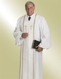 Pulpit Clergy Robe Wesley White with Gold Trim 7efc10737
