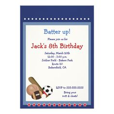 All Star Baseball Soccer Sports Birthday 5x7 Personalized Announcements