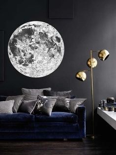 Full Moon Wall Decal. Astronomy Wall Decal. Bohemian Celestial Moon Sticker. Space Decal. Circle Wall Decal.