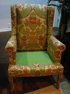 Reupholstered Chair Wing Chair Tutorial