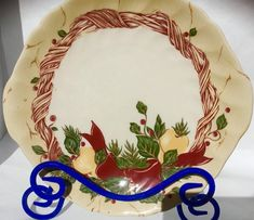 Christmas Cookie Plate Vintage Red Green Holly Wreath Wedgwood Home Amway 1998 Stoneware Cottage Farmhouse Santa Cookies