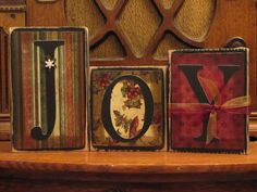 Joy Christmas Sign Word Blocks.