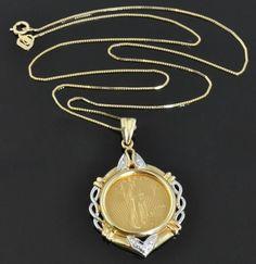 1998 Fine Gold 1/10 Oz $5 American Eagle BU Coin 14K Diamond Pendant Necklace #Chain
