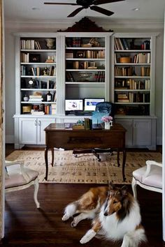 French-office #.  Built in bookcase and shelves great for an office.  Would make bottom cupboard deep enough to store banker boxes