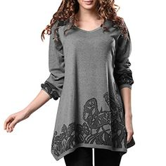 DJT Lady Scoop Neck Long Sleeve Stretchy Irregular Hem Casual Top Blouse Grey DJT http://www.amazon.com/dp/B00R7KRLOE/ref=cm_sw_r_pi_dp_Yt7.ub0BT1DFE