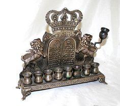 Israeli Antique Sterling Silver Hanukkah Menorah Lions Israel circa 1950s