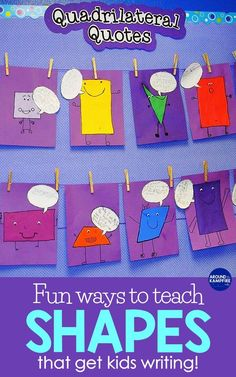 Are You Looking For High Engagement And Shapes Activities That Make Learning Geometry More Fun? This Easy, No-Prep Quadrilaterals Activity Is A Fun Way To Get Kids Writing About Math. Ideal For And Grade Math, All You Need Is Construction Paper Visit Math Writing, Math Art, Kids Writing, Fun Math, 3d Shapes Activities, Geometry Activities, Teaching Shapes, Teaching Geometry, Sensory Activities