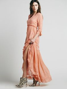 Good option for a bridesmaid dress. Wish they had my size... Free People White Romance Embroidered Maxi, $198.00