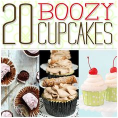 """20 Boozy Cupcakes ~  A fun collection of cupcakes that are for 21 and over! Fun and fabulous cupcakes that have had just a little bit to drink to add a whole lot of flavor to them. Irish Bailey's Cream, Champagne, Kaluha, Margarita's, etc. are a natural to add a kick and a flavor blast to baking. These just might be the perfect addition to your next party!  Click """"Next"""" for Recipe Links @: http://www.thecottagemarket.com/2013/12/boozy-cupcakes.html/nggallery/"""