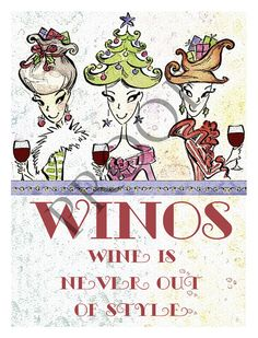 WINOS - Wine Is Never Out of Style Humorous Custom Christmas Wine or Spirits Label