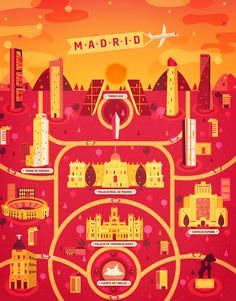 Madrid map illustration (Cosmopolis by Aldo Crusher)