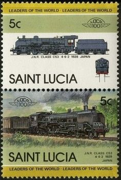 Stamp: J.N.R. Class C-53, 1928, Japan (Saint Lucia) (Locomotives) Mi:LC 712-713,Sn:LC 711,Yt:LC 704-705