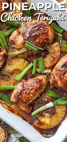 This easy homemade pineapple teriyaki chicken recipe is great grilled or baked. … This easy homemade pineapple teriyaki chicken recipe is great grilled or baked. We love making teriyaki chicken breasts during the week! Teriyaki Pineapple Chicken, Chicken Teriyaki Recipe, Oven Chicken, Teriyaki Chicken Casserole, Ginger Chicken, Chicken Thights Recipes, Recipes For Chicken Thighs, Chicken Breasts, Boneless Skinless Chicken Thighs