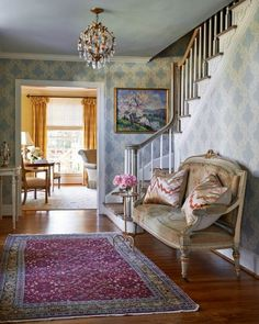 Carter | Gray Walker Interiors#homes #homedecor #entry #foyer #blue #wallpaper #settee #antique #moderndesign #customdesign #homedecor #decorating #roomideas
